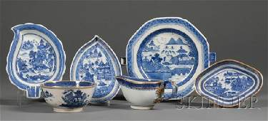 349: Six Chinese Export Blue and White Porcelain Table