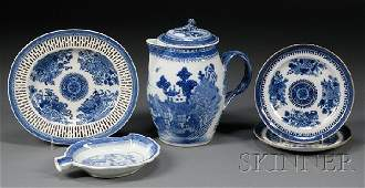 354 Five Blue and White Chinese Export Porcelain Table
