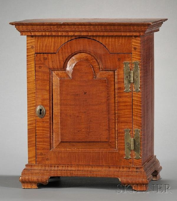 500: Carved Tiger Maple Spice Chest, New London Townshi