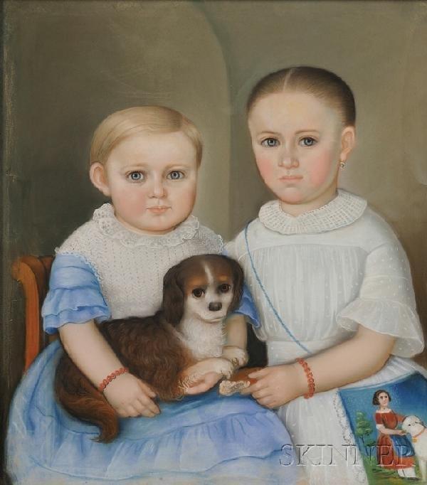 501: American School, 19th Century Portrait of Two Chil