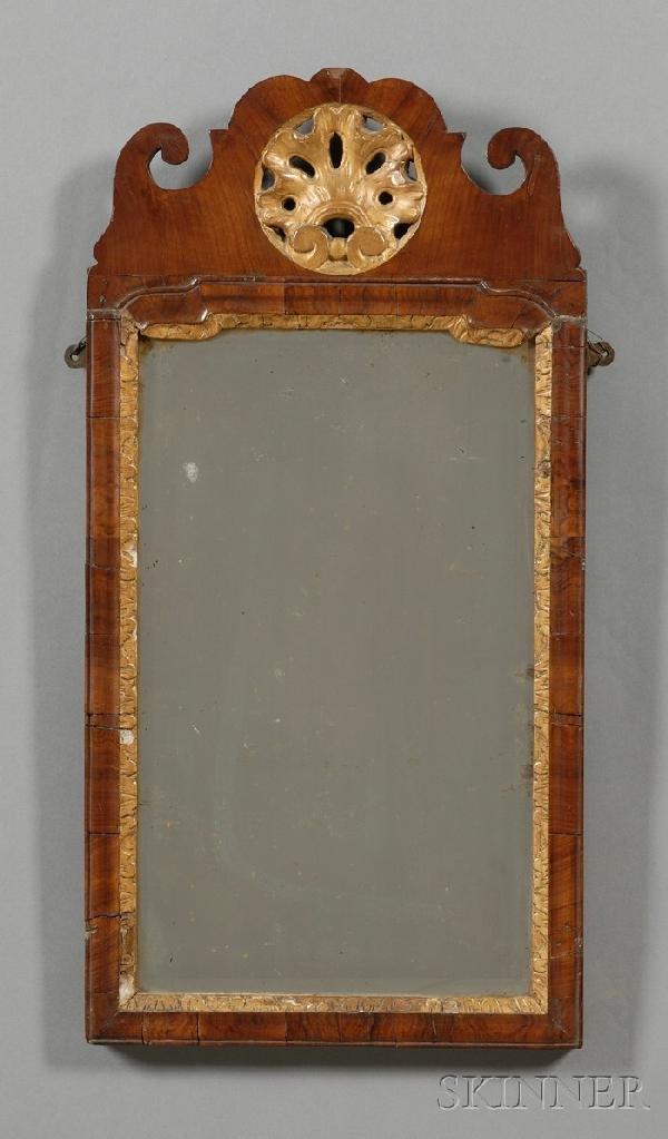 505: Queen Anne Walnut and Gilt-gesso Mirror, England,