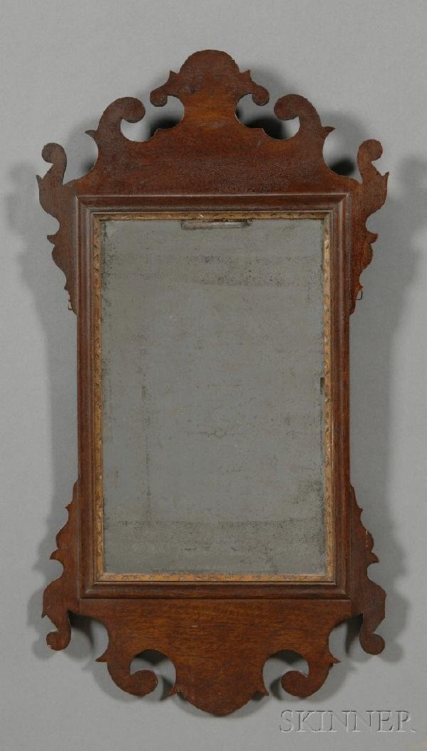 506: Small Chippendale Mahogany Mirror, England, late 1