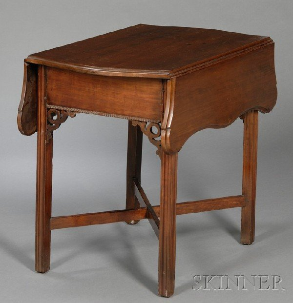 513: Chippendale Carved Cherry Drop-leaf Table, probabl