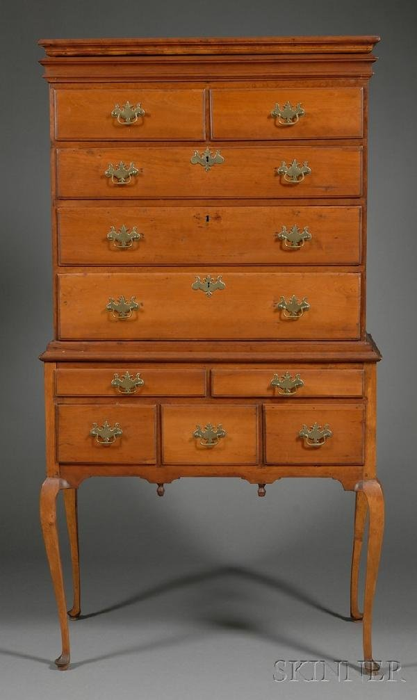 515: Queen Anne Carved Cherry High Chest of Drawers, po