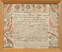 626: Two Framed Pennsylvania German Frakturs, late 18th