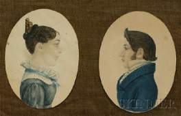 647: Pair of Profile Portrait Miniatures of a Man and a