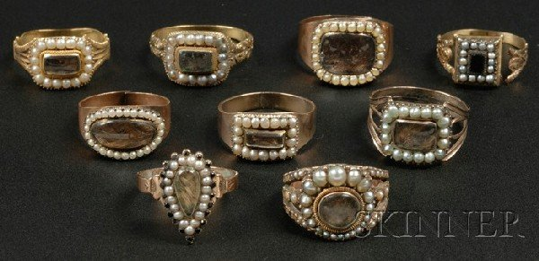 705: Nine Gold and Hairwork Mourning Rings, 19th centur