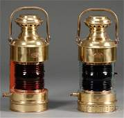 1023 Pair of Brass Ships Port and Starboard Lanterns