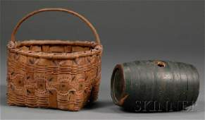 1134: Freehand Painted Indian-made Basket and a Green-p