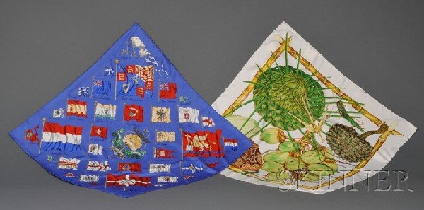 """2: Two Silk Scarves, Hermes, """"Pavois"""" depicting various"""