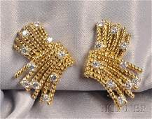 350 18kt Gold and Diamond VRope Earclips Schlumber