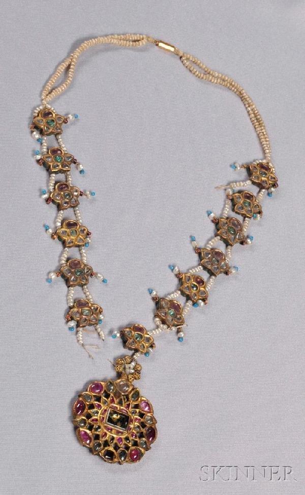 503: Antique 22kt Gold, Enamel, and Gem-set Necklace, I