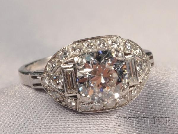 676: Art Deco Platinum and Diamond Ring, J & L. Hartzbe