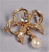 680: Antique 18kt Gold, Natural Pearl, and Diamond Bow