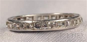 722 Art Deco Platinum and Diamond Eternity Band set w
