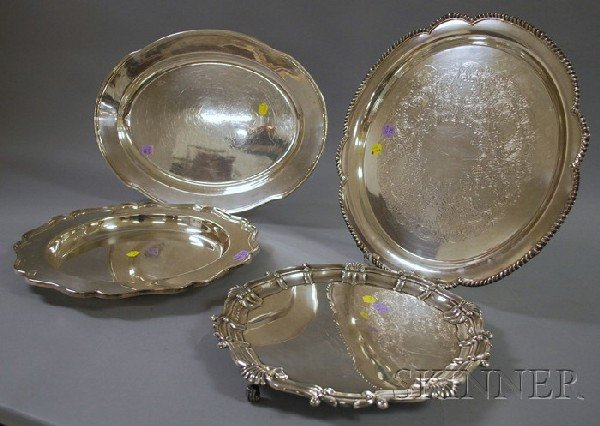 2: Four English and American Silver Plated Trays, round