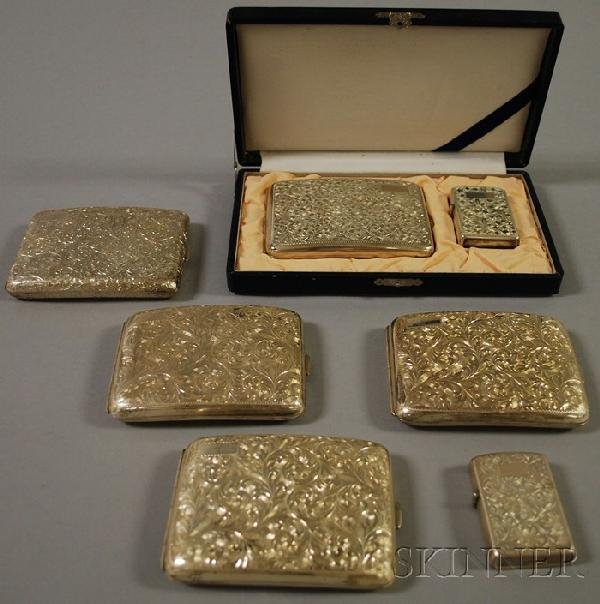 5: Group of Silver Cigarette Cases and Smoking Accessor