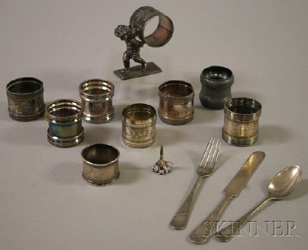 7: Group of Silver and Silver Plated Napkin Rings and O
