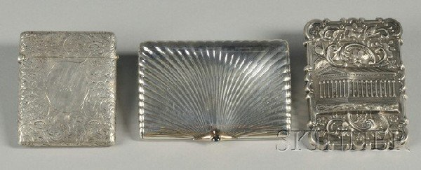 13: Two Silver Card Cases and a Silver Cigarette Case,