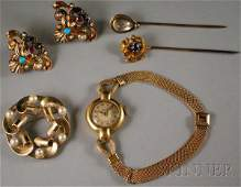 212: Small Group of 14kt Gold Jewelry, a Black, Starr &