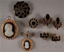 253 Small Group of Antique Gold and Onyx Jewelry two