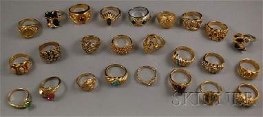 332B Large Group of Goldfilled and Costume Rings
