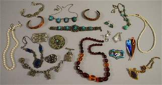 349B: Small Group of Mostly Silver Jewelry, including a
