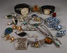 375 Small Group of Mostly Silver and Costume Jewelry