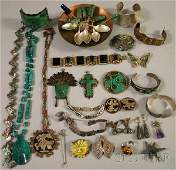 397: Group of Mostly Mexican Sterling Silver Jewelry, i