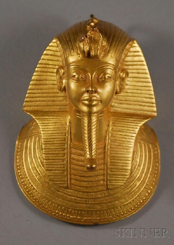 420: Vintage Gold-washed King Tut Death Mask Pendant, f