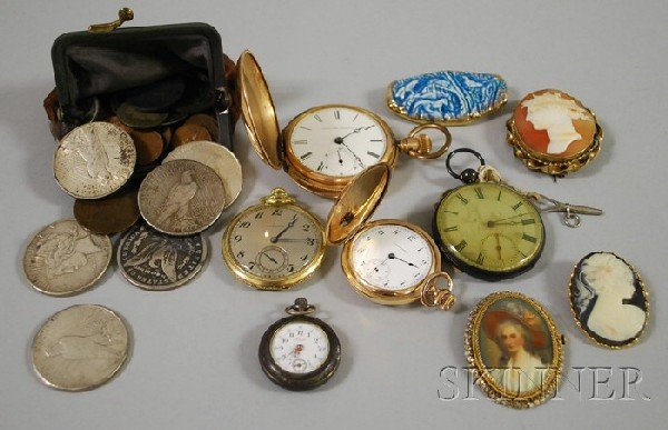 427: Group of Jewelry and Coin Items, including five po