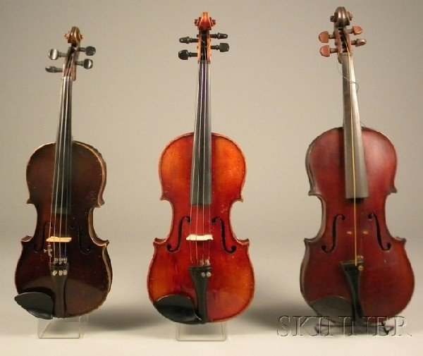 523: Three German Violins and Seven Bows, in cases, var