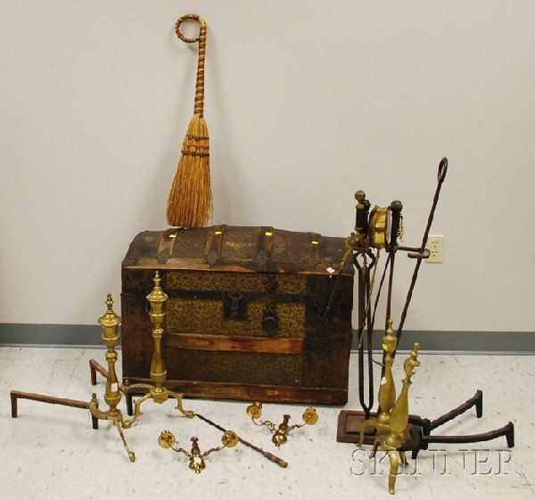 601: Late Victorian Dome-top Metal-clad Wooden Trunk an