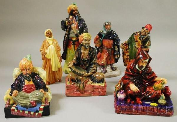 751: Seven Royal Doulton Porcelain Figural Groups, Mend