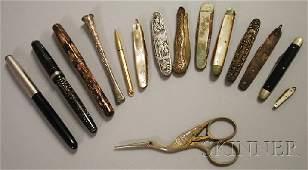 874: Three Vintage Fountain Pens, Nine Penknives, a Mec