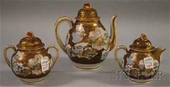 988 Threepiece Japanese Satsuma Porcelain Tea Set