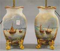 1017D Pair of Handpainted Coastal View with Fishing B