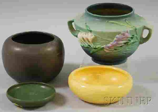 1054: Four Pieces of Assorted Art Pottery, a small Marb