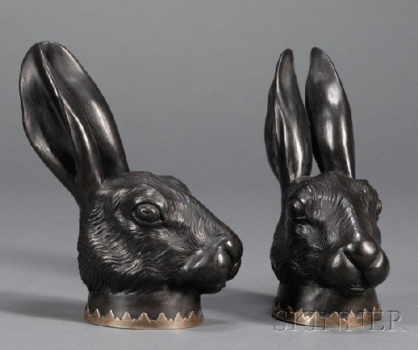 5: Pair of Wedgwood and Bentley Black Basalt Hare Head