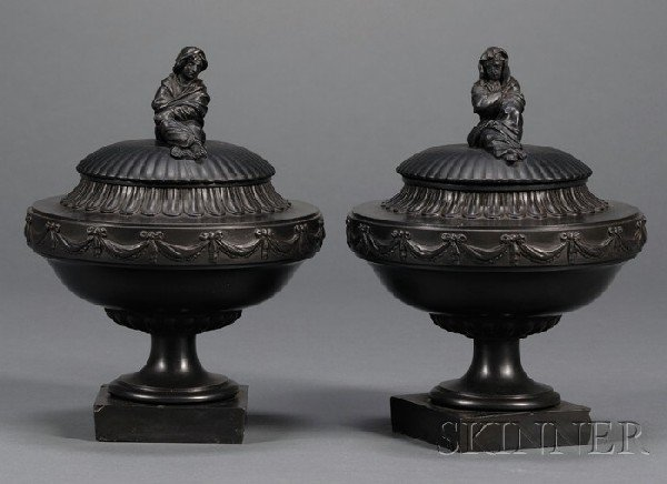 6: Pair of Wedgwood and Bentley Black Basalt Vases and