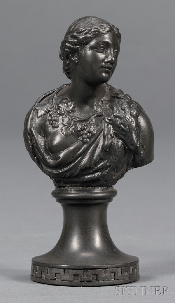 8: Miniature Wedgwood and Bentley Black Basalt Bust of
