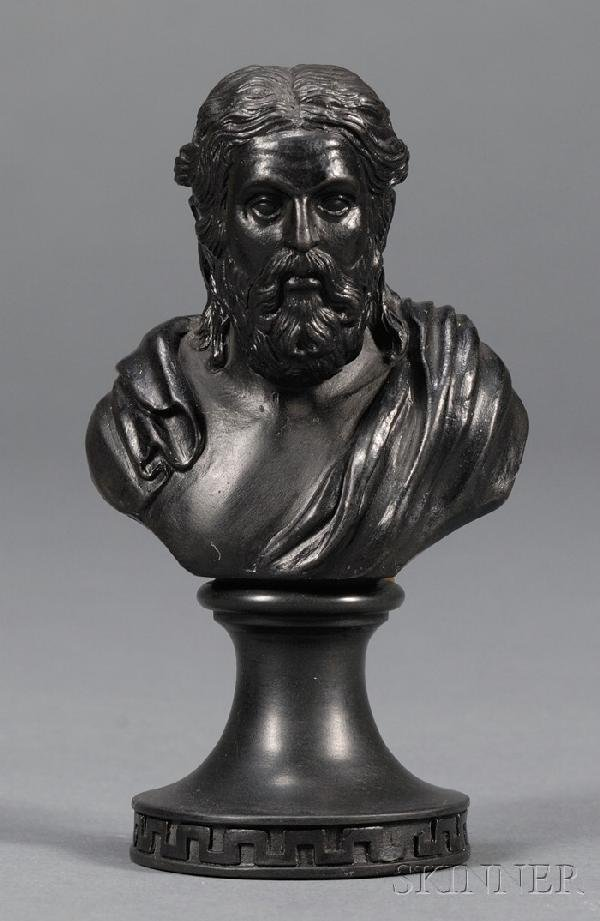 9: Miniature Wedgwood and Bentley Black Basalt Bust of