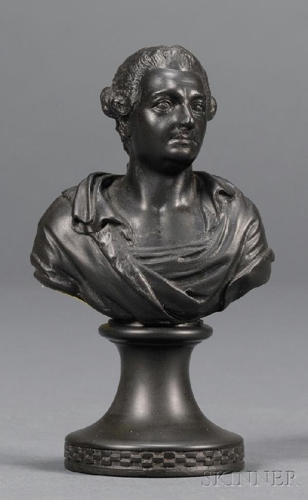 10: Miniature Wedgwood and Bentley Black Basalt Bust of