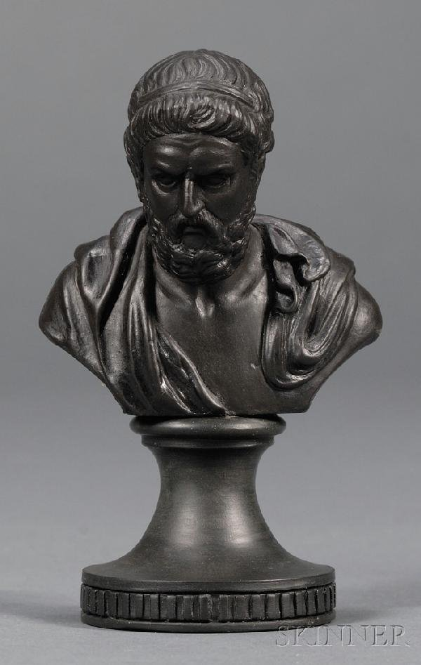 11: Miniature Wedgwood and Bentley Black Basalt Bust of