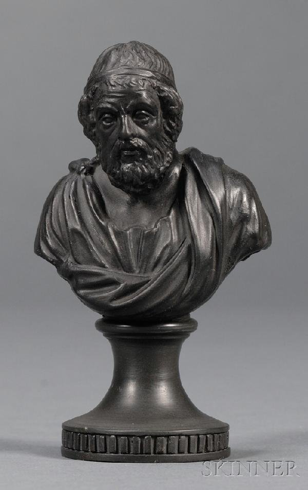 12: Miniature Wedgwood and Bentley Black Basalt Bust of