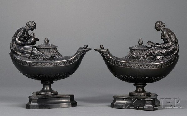 21: Pair of Wedgwood and Bentley Black Basalt Vestal an