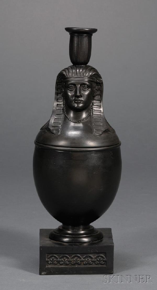 23: Wedgwood and Bentley Black Basalt Canopic Jar/Candl