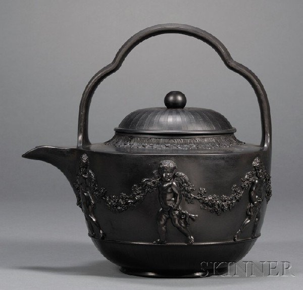 24: Wedgwood and Bentley Black Basalt Tea Kettle and Co