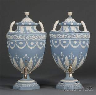 101: Pair of Wedgwood Solid Blue Jasper Tea Urns and Co