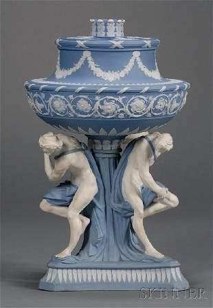 108: Wedgwood Solid Blue Jasper Michelangelo Vase and C